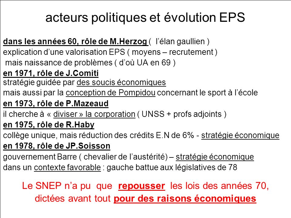 acteurs politiques et évolution EPS