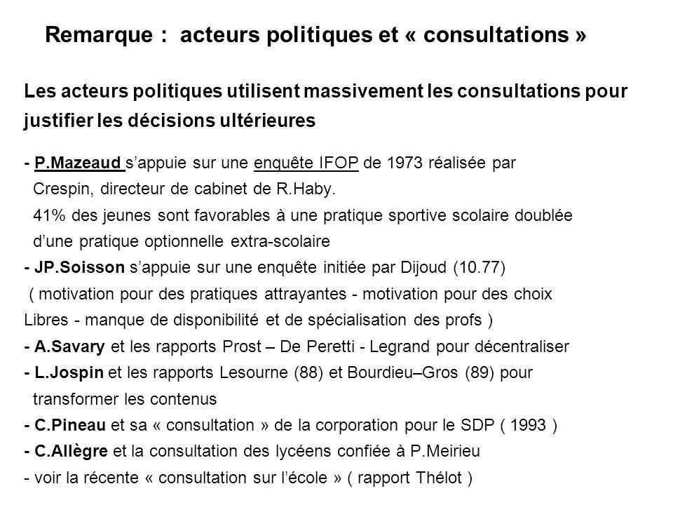 Remarque : acteurs politiques et « consultations »