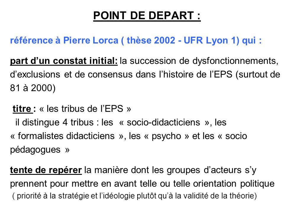 31/03/2017 POINT DE DEPART : référence à Pierre Lorca ( thèse 2002 - UFR Lyon 1) qui :