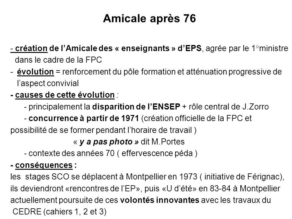 31/03/2017 Amicale après 76. - création de l'Amicale des « enseignants » d'EPS, agrée par le 1°ministre.