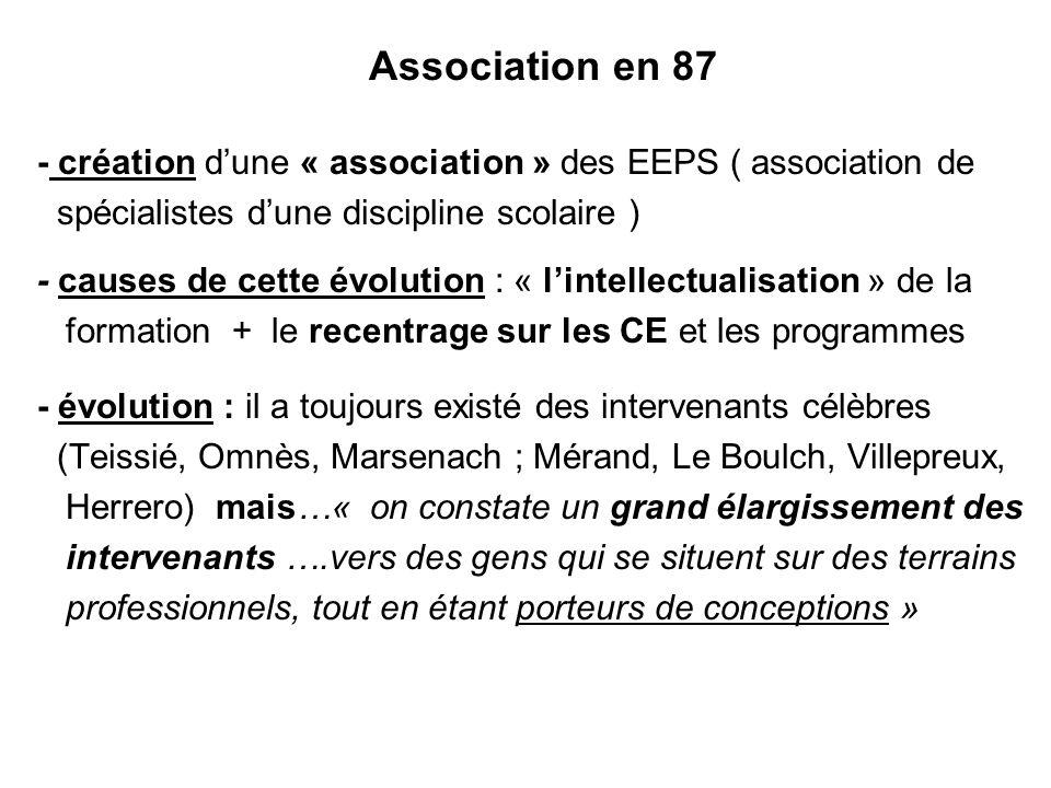 31/03/2017 Association en 87. - création d'une « association » des EEPS ( association de. spécialistes d'une discipline scolaire )