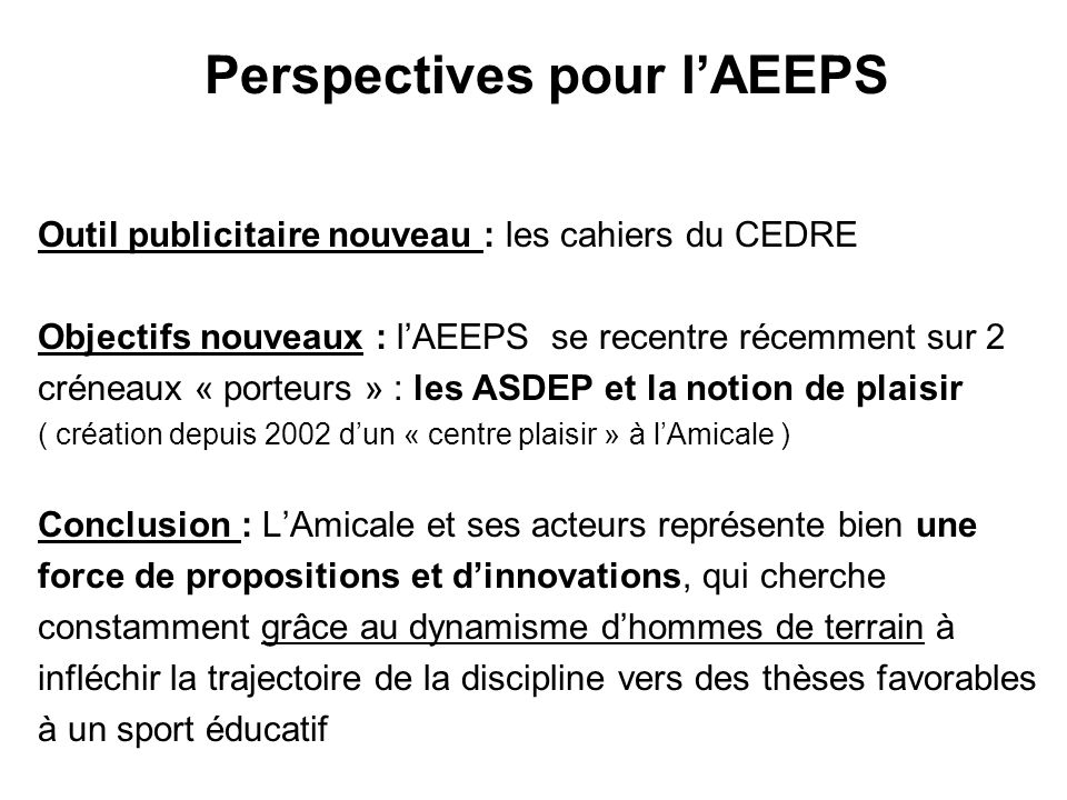 Perspectives pour l'AEEPS