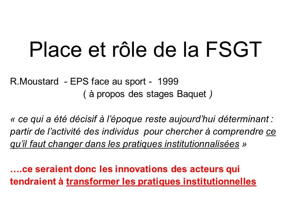 Place et rôle de la FSGT R.Moustard - EPS face au sport - 1999