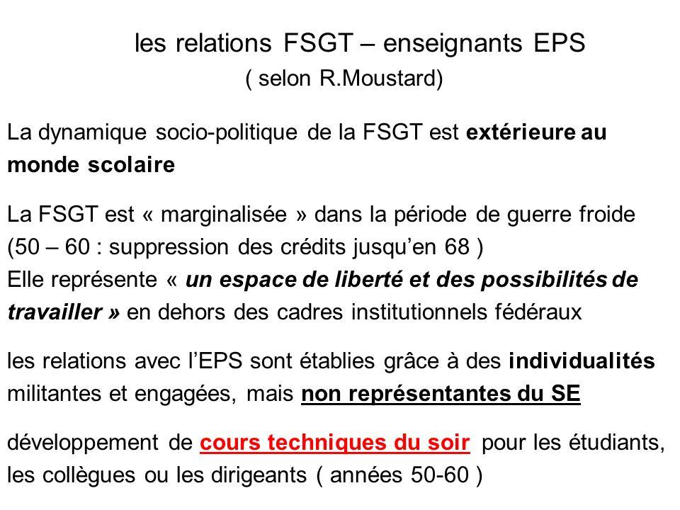les relations FSGT – enseignants EPS