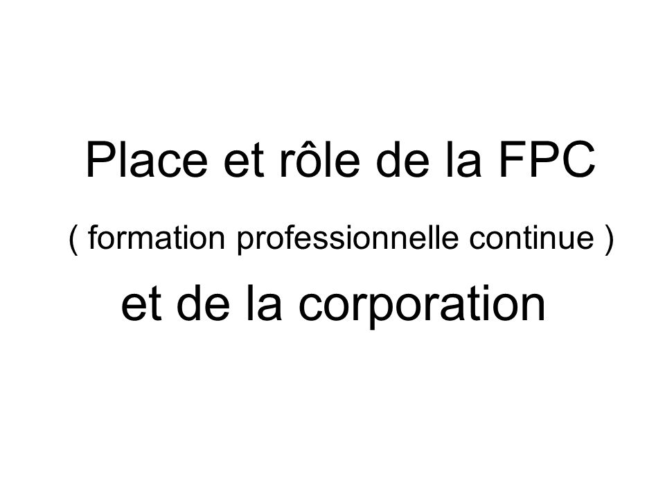 ( formation professionnelle continue )
