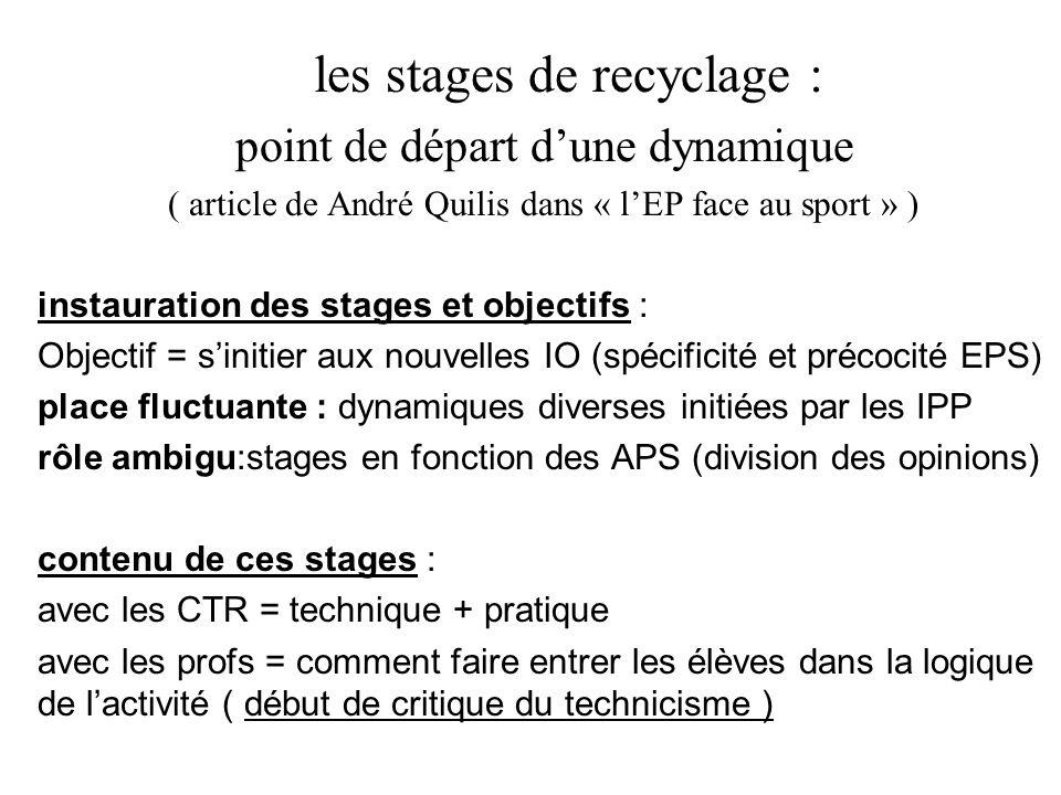 les stages de recyclage : point de départ d'une dynamique