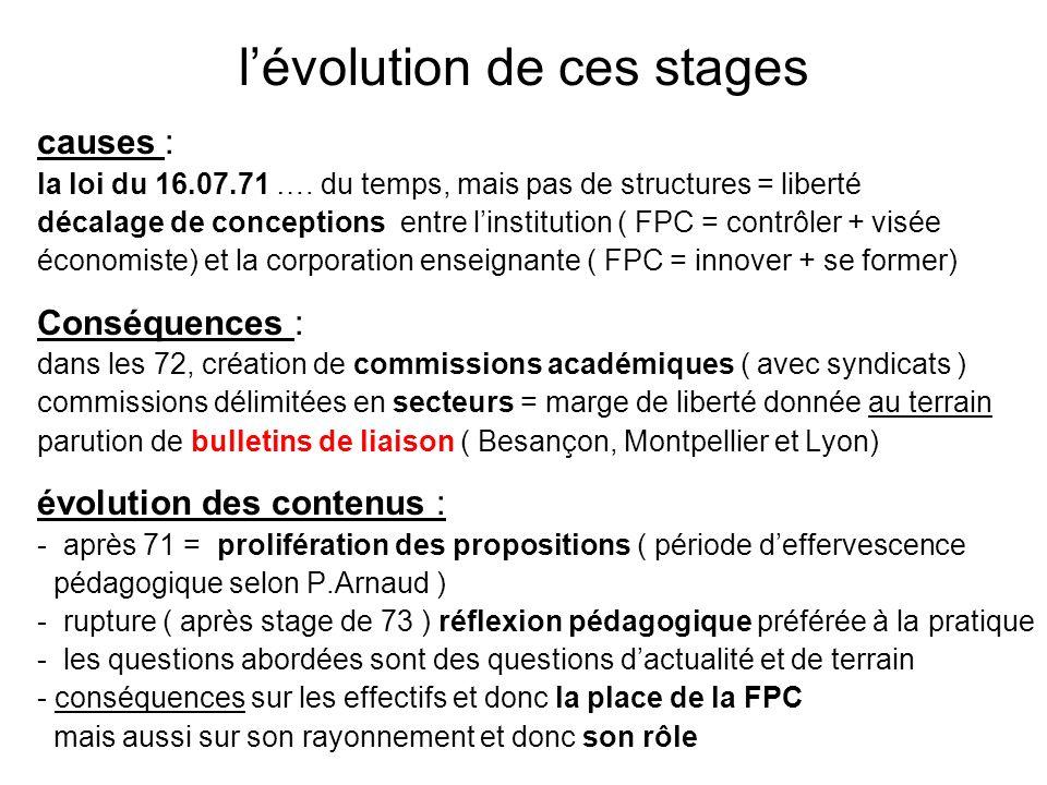 l'évolution de ces stages