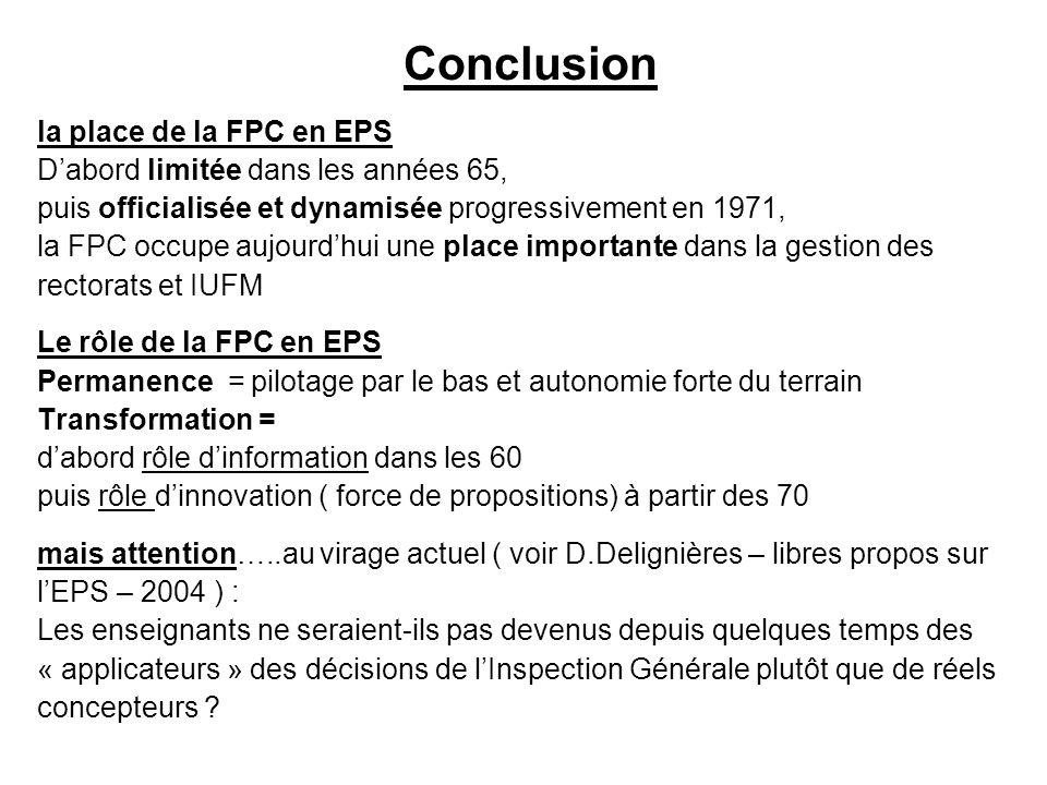 Conclusion la place de la FPC en EPS