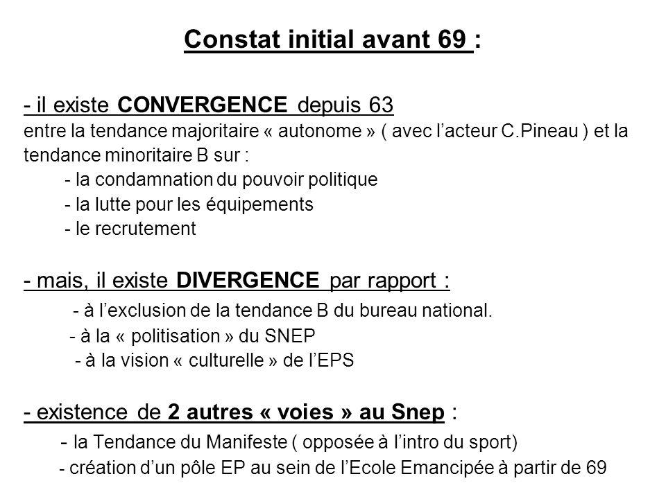 Constat initial avant 69 :