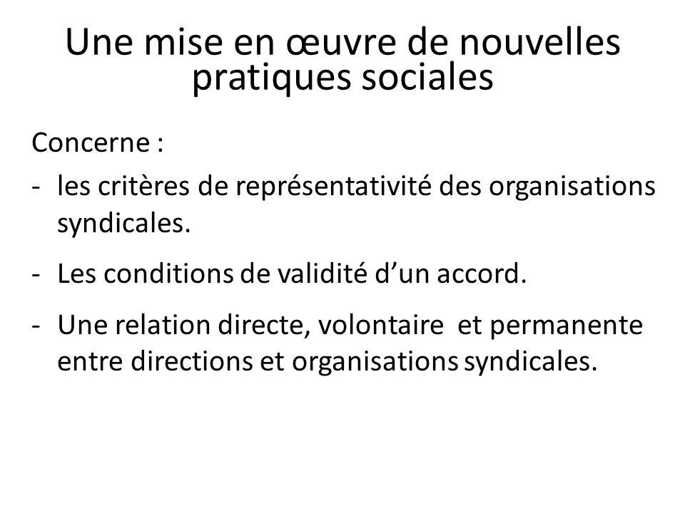Une mise en œuvre de nouvelles pratiques sociales
