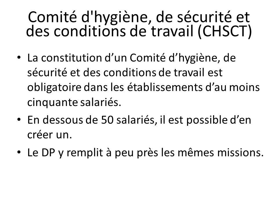 Comité d hygiène, de sécurité et des conditions de travail (CHSCT)