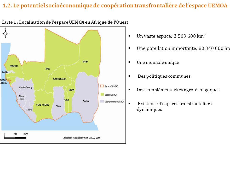 1.2. Le potentiel socioéconomique de coopération transfrontalière de l'espace UEMOA