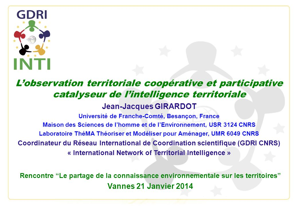L'observation territoriale coopérative et participative catalyseur de l'intelligence territoriale
