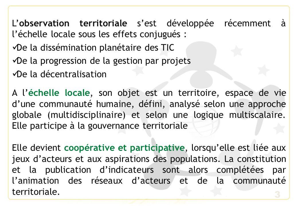 L'observation territoriale s'est développée récemment à l'échelle locale sous les effets conjugués :