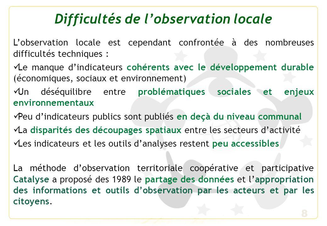 Difficultés de l'observation locale