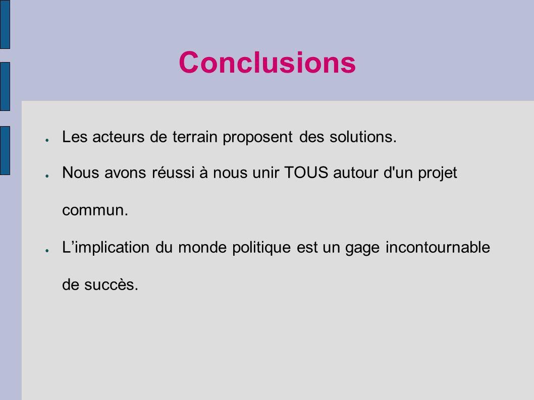 Conclusions Les acteurs de terrain proposent des solutions.