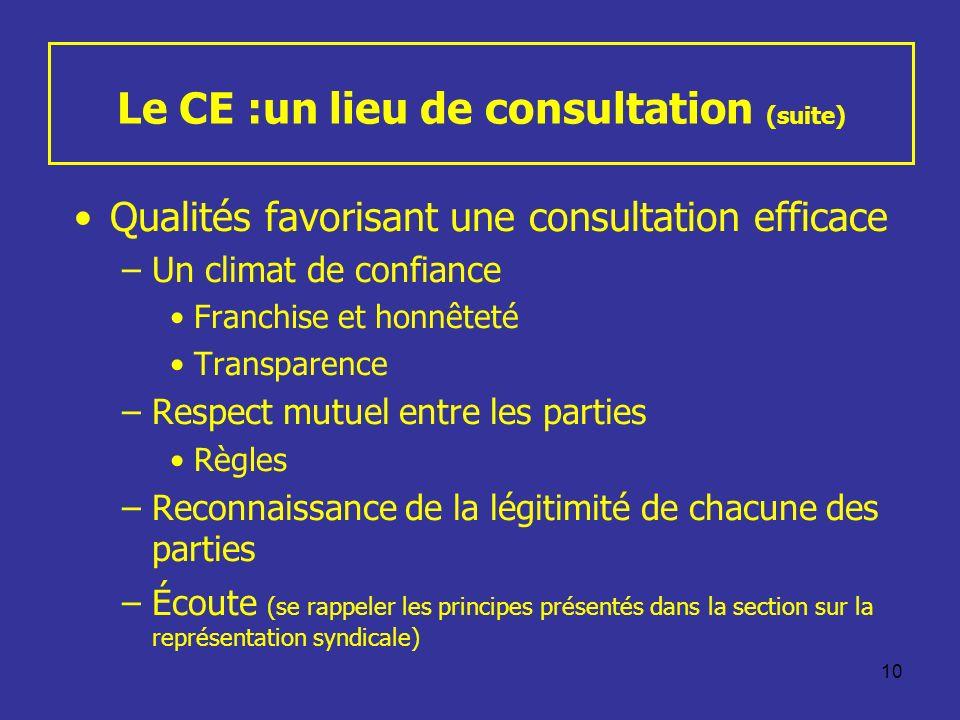 Le CE :un lieu de consultation (suite)