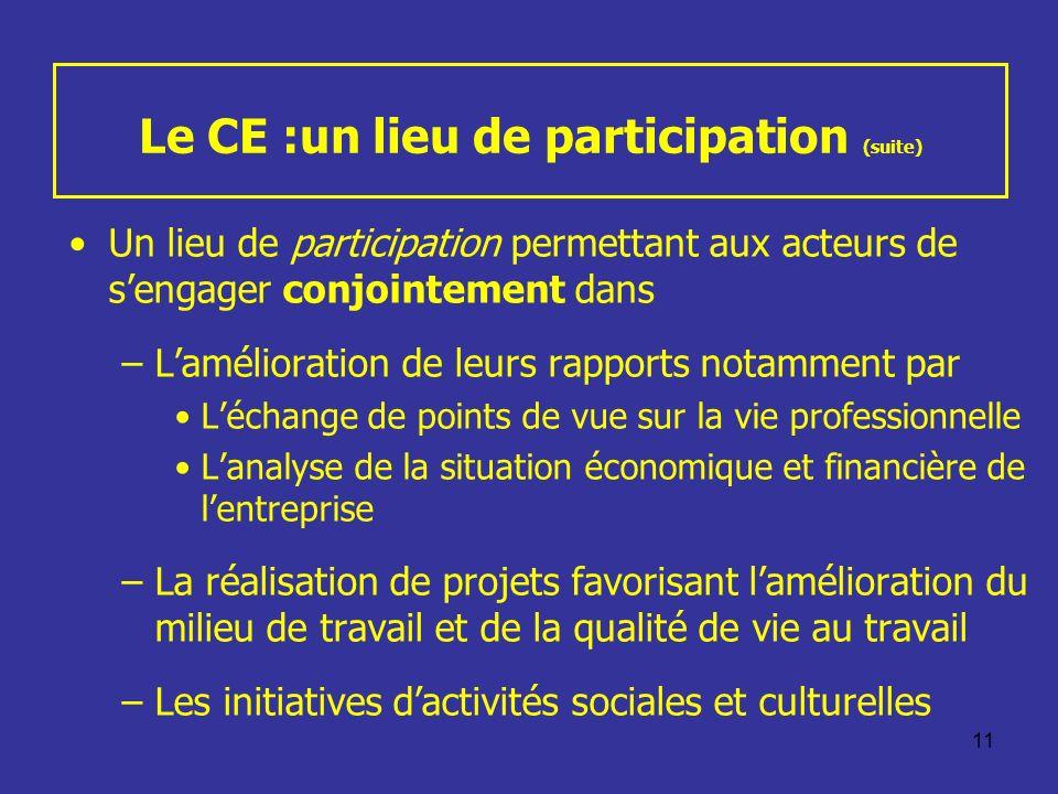 Le CE :un lieu de participation (suite)