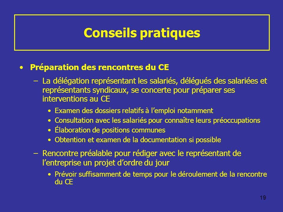 Conseils pratiques Préparation des rencontres du CE