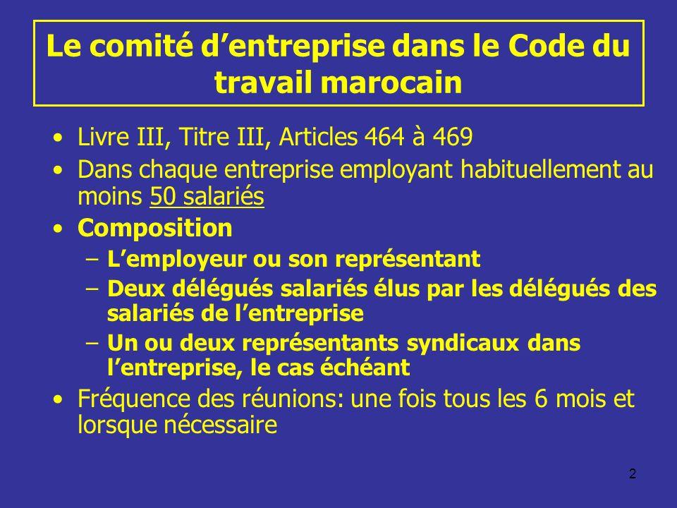 Le comité d'entreprise dans le Code du travail marocain