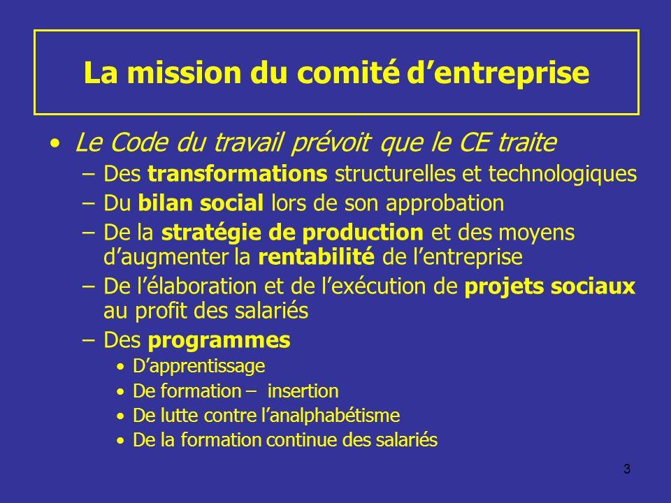 La mission du comité d'entreprise
