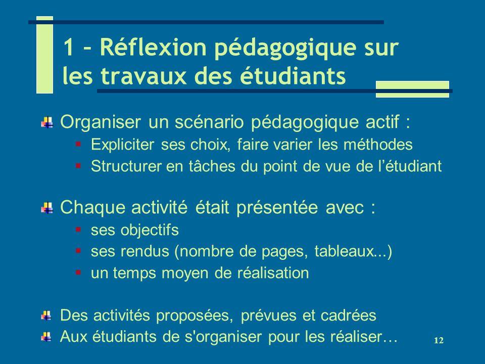 1 – Réflexion pédagogique sur les travaux des étudiants