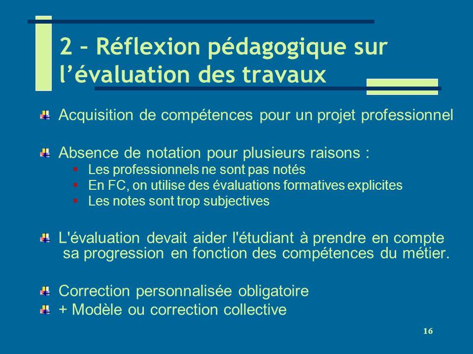 2 – Réflexion pédagogique sur l'évaluation des travaux