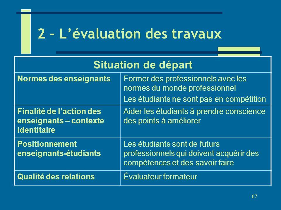 2 – L'évaluation des travaux
