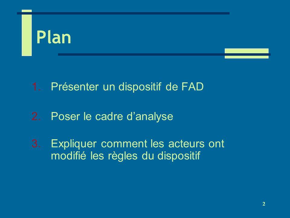 Plan Présenter un dispositif de FAD Poser le cadre d'analyse