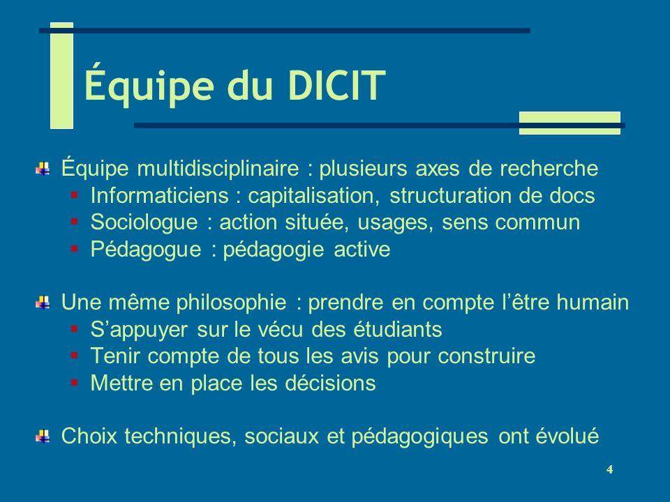 Équipe du DICIT Équipe multidisciplinaire : plusieurs axes de recherche. Informaticiens : capitalisation, structuration de docs.