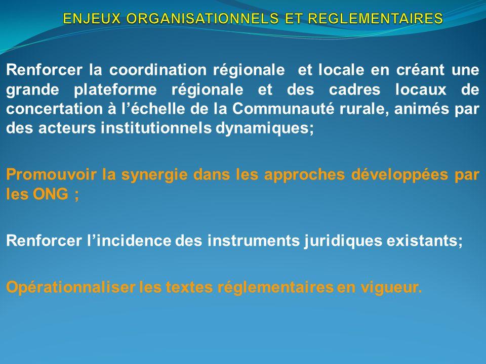 ENJEUX ORGANISATIONNELS ET REGLEMENTAIRES
