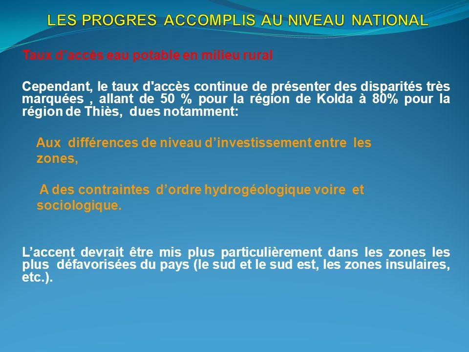 LES PROGRES ACCOMPLIS AU NIVEAU NATIONAL