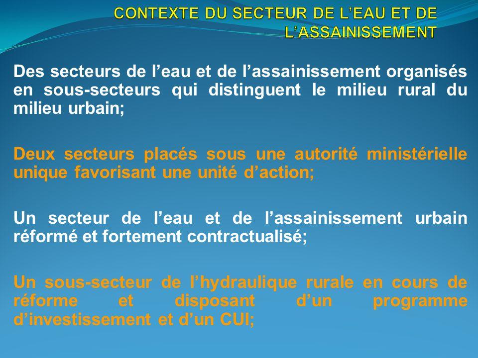 CONTEXTE DU SECTEUR DE L'EAU ET DE L'ASSAINISSEMENT