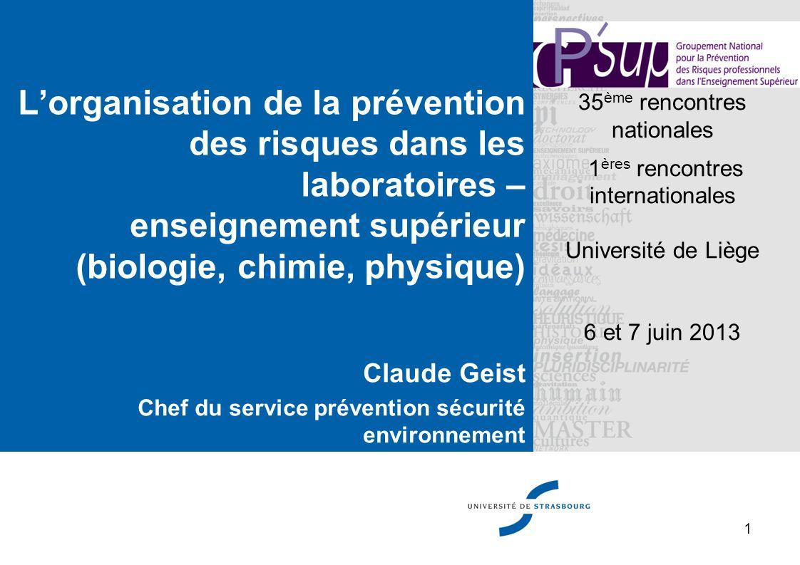 L'organisation de la prévention des risques dans les laboratoires – enseignement supérieur (biologie, chimie, physique)