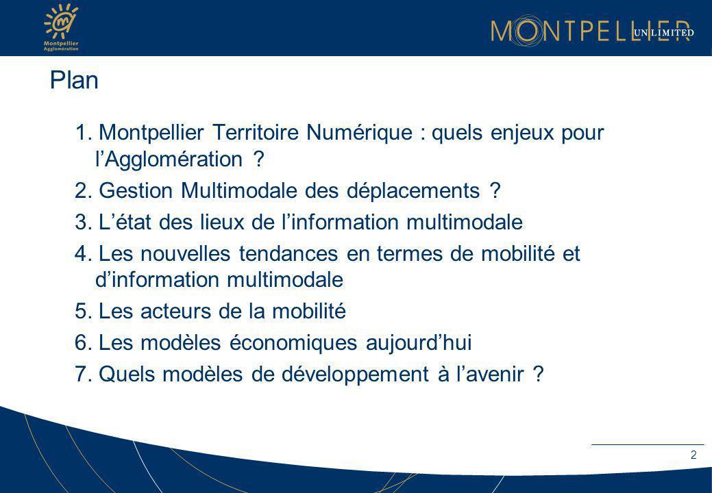 Plan 1. Montpellier Territoire Numérique : quels enjeux pour l'Agglomération 2. Gestion Multimodale des déplacements