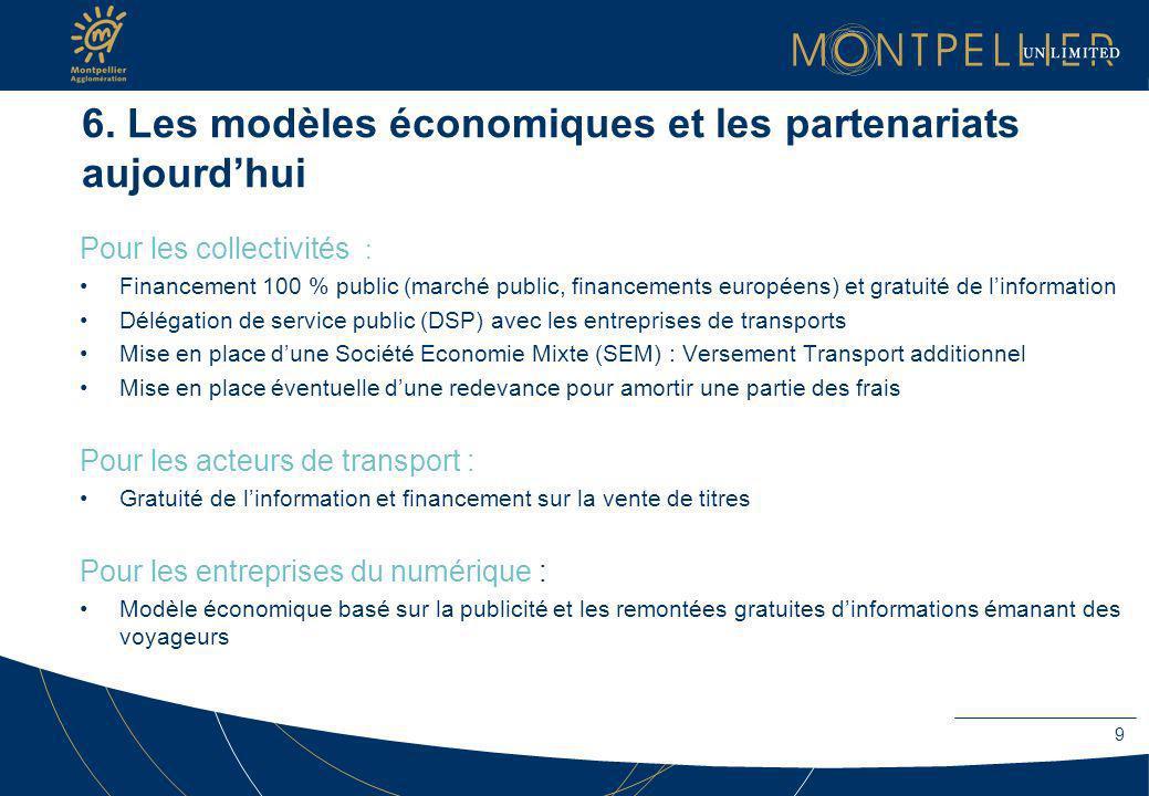 6. Les modèles économiques et les partenariats aujourd'hui