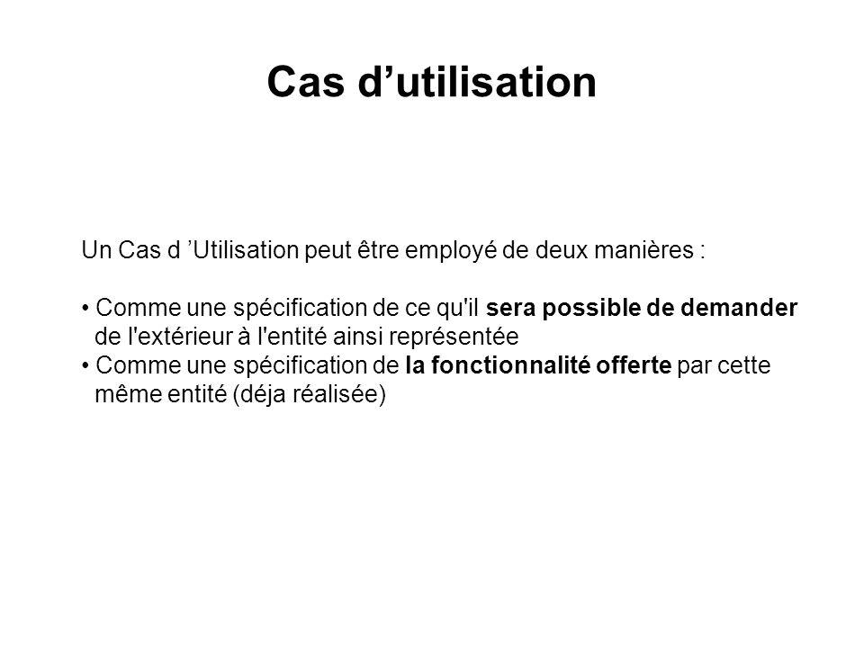Cas d'utilisation Un Cas d 'Utilisation peut être employé de deux manières : Comme une spécification de ce qu il sera possible de demander.