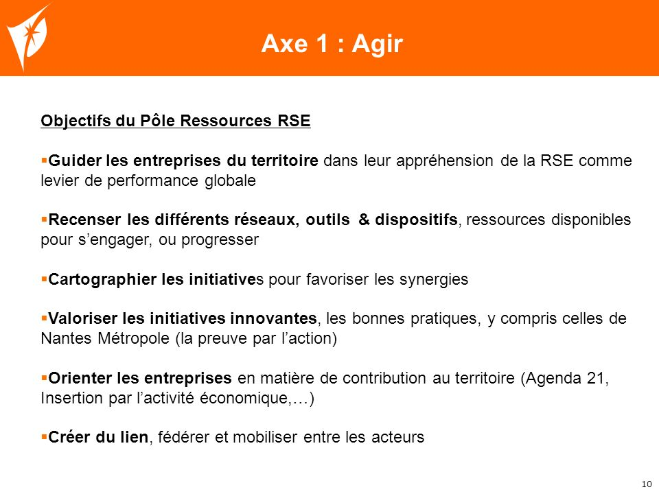 Axe 1 : Agir Objectifs du Pôle Ressources RSE