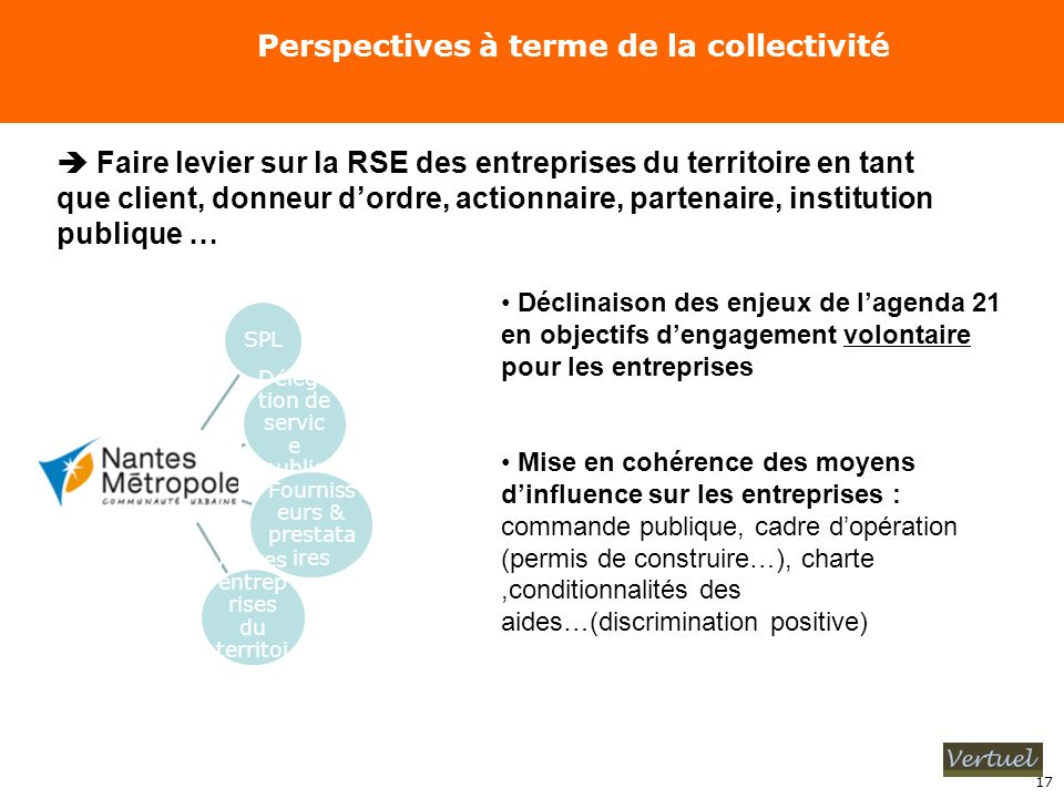 Perspectives à terme de la collectivité