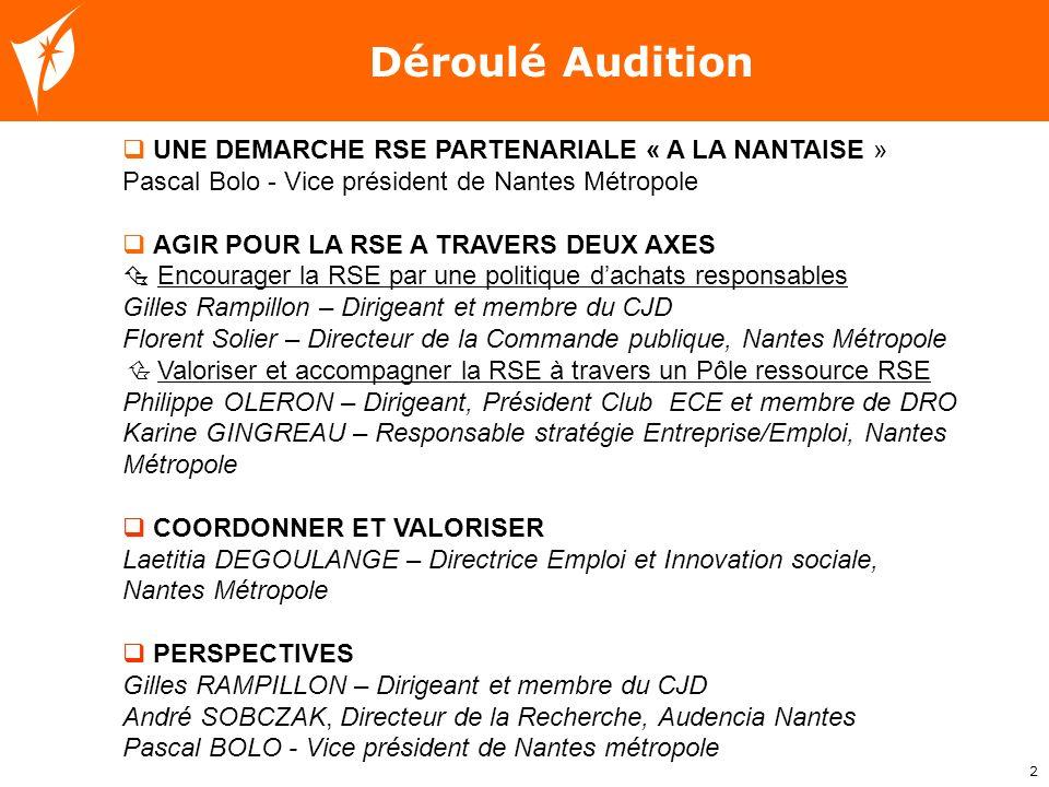 Déroulé Audition UNE DEMARCHE RSE PARTENARIALE « A LA NANTAISE »