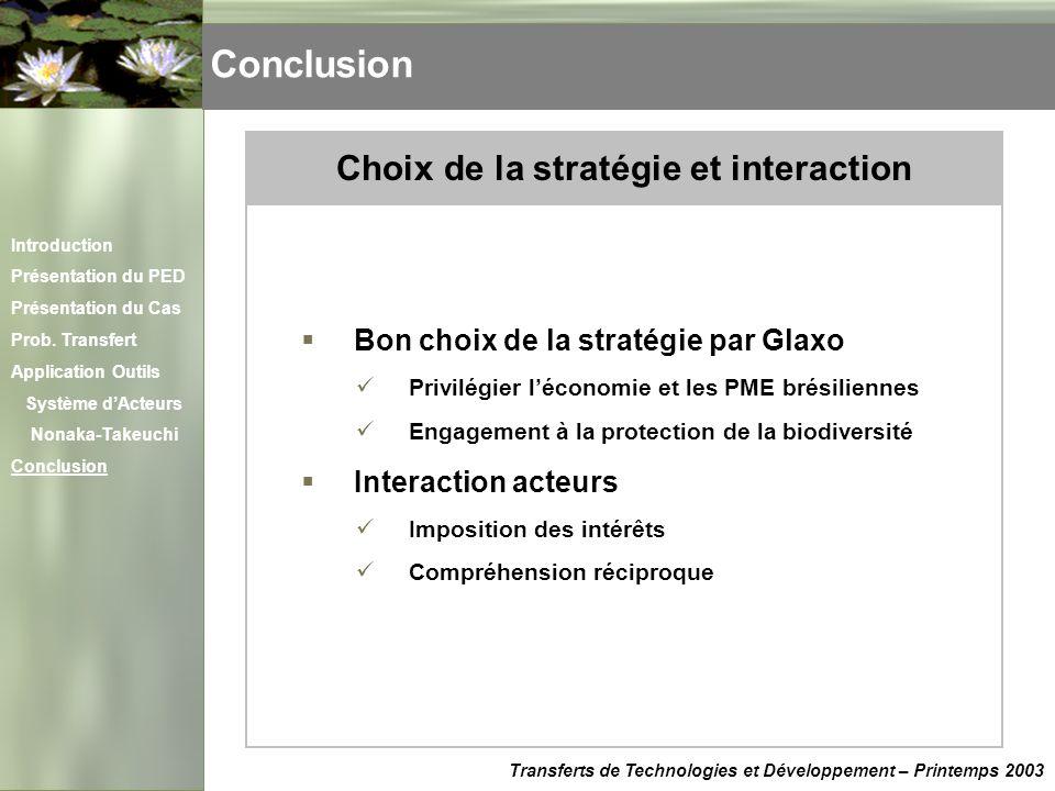 Choix de la stratégie et interaction