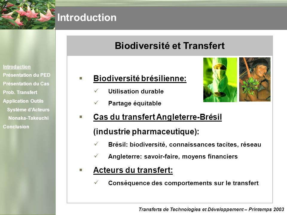 Biodiversité et Transfert