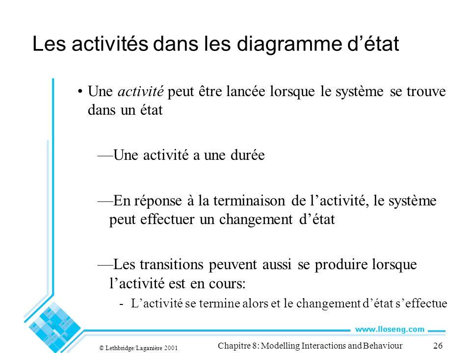 Les activités dans les diagramme d'état