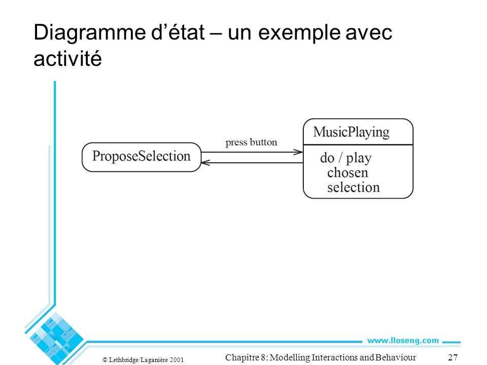 Diagramme d'état – un exemple avec activité