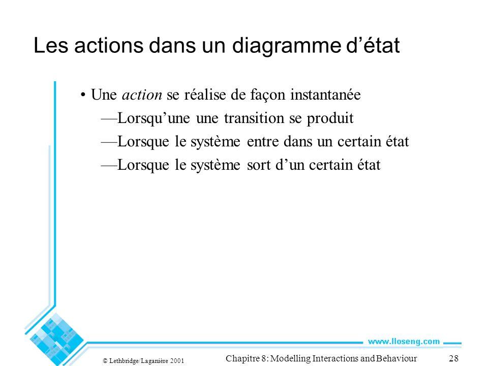 Les actions dans un diagramme d'état