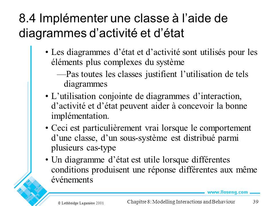 8.4 Implémenter une classe à l'aide de diagrammes d'activité et d'état