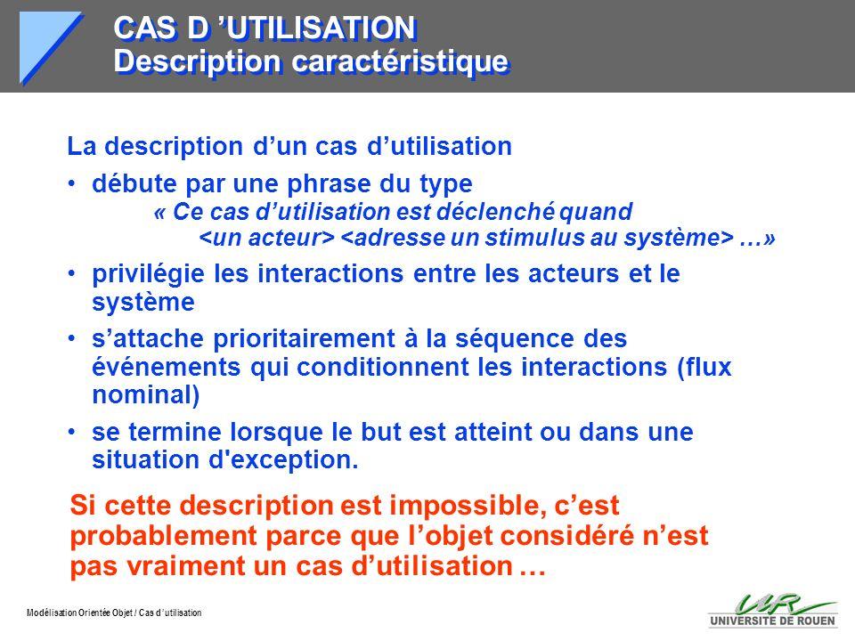 CAS D 'UTILISATION Description caractéristique