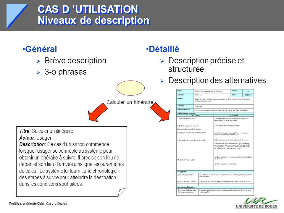 CAS D 'UTILISATION Niveaux de description