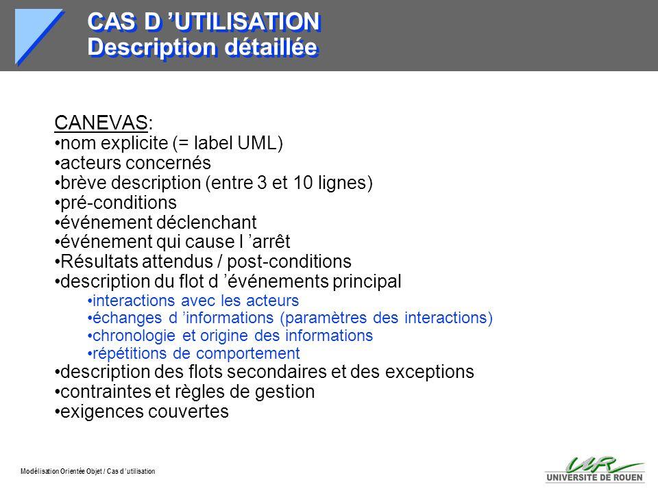 CAS D 'UTILISATION Description détaillée