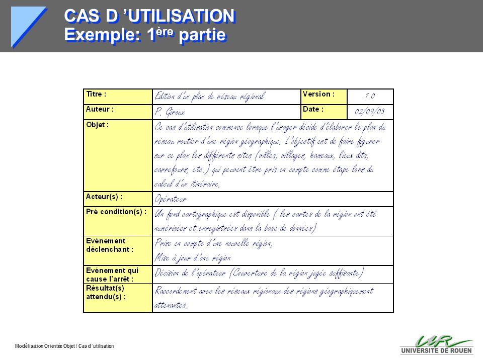 CAS D 'UTILISATION Exemple: 1ère partie